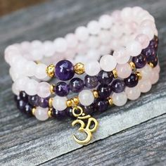 108 Mala, Rose Quartz Amethyst Om Love Necklace Wrapped Bracelet Healing Stone, Mala Beads, Girl Mala, Eco Friendly, Purple, Pink,