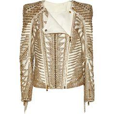 Balmain Embellished leather biker jacket (7 090 BGN) ❤ liked on Polyvore featuring outerwear, jackets, balmain, coats, leather jacket, brown motorcycle jacket, brown leather jacket, beaded jacket and fringe leather jacket