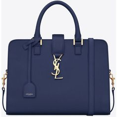 Small Cabas Monogram Saint Laurent Bag In Blue Leather ($2,650) ❤ liked on Polyvore featuring bags, handbags, shoulder bags, purses, blue, leather handbags, genuine leather shoulder bag, genuine leather purse, blue purse y detachable key ring