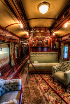 Inside the Custom Railroad Car at Adirondack Museum