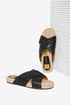 Dolce Vita Genivee Leather Espadrille Slide