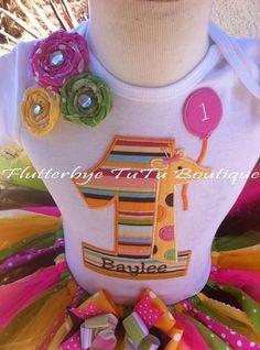 Shabby Sweet Safari Birthday TuTu Set w/ Fabric by flutterbyetutu, $58.50