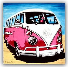 Cool Volkswagen 2017: VOLKSWAGEN ART Original Handpainted Bespoke Canvas Art from The Kludoman Surf Co...  Artwork