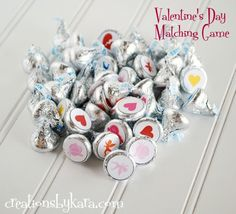 This Valentines Day Matching Game is another excuse for to act like a kid with your kids and enjoy sweet treats at the same time. It is also a perfect Valentine classroom game. Valentine Day Kiss, Valentines Games, Kinder Valentines, Valentines Day Activities, Valentines Day Party, Valentine Day Crafts, Love Valentines, Printable Valentine, Valentine Ideas