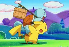 Squirtle is crushing Pikachu. (Squirtle weighs and Pikachu weighs ) Pokemon Gif, Pokemon Funny, Pokemon Memes, Pokemon Universe, Gifs, Morning Cartoon, Cute Pikachu, Pokemon Special, On The Road Again