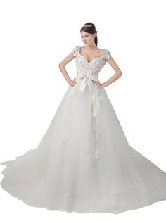 Topwedding Tulle Ball Gown with Flower Details and Bow Sash, S12, White Topwedding,http://www.amazon.com/dp/B00BPTLW0M/ref=cm_sw_r_pi_dp_rmtrrb1KSM9TZWQN