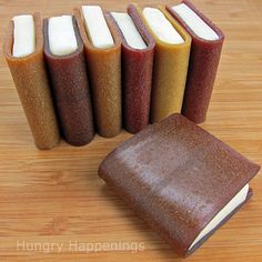 How to create school books using corn syrup free modeling chocolate and fruit leather. A fun snack for end of the school year parties.    http://www.hungryhappenings.com/2011/05/how-to-create-school-books-using-corn.html