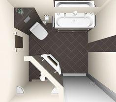 Kleine badkamer ontwerpen 200x200cm. Sani-bouw.nl maakt vrijblijvend een 3D badkamerontwerp voor u.