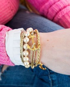 "Sarah Vickers on Instagram: ""Gold and pearls are my neutral  Loving the new ""Golden Hitch"" bracelet on KJP.com"""