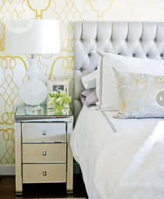 """Have you heard of temporary or """"renter's wallpaper"""" ?  There are several companies that offer removable wallpaper from Spoonflower to Sherwin Williams.  Do an online search to discover companies that make this product – it's an investment but if you crave a bold pattern in your bedroom space, or even just behind the bed, it's worth looking into!"""