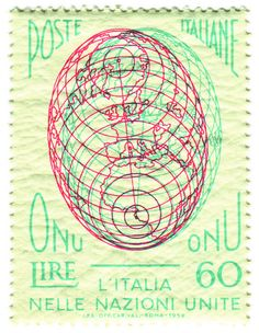 Italy postage stamp: ONU by karen horton, via Flickr First 3D postage stamp, printed in Anaglyph.