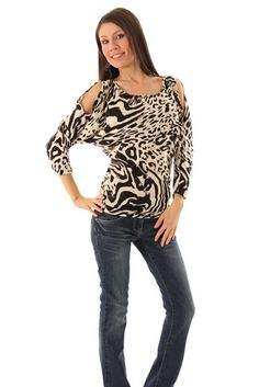 DHStyles Women's Ivory Black Chic Zebra Print Cold Shoulder Long Sleeve Top #sexytops #clubclothes #sexydresses #fashionablesexydress #sexyshirts #sexyclothes #cocktaildresses #clubwear #cheapsexydresses #clubdresses #cheaptops #partytops #partydress #haltertops #cocktaildresses #partydresses #minidress #nightclubclothes #hotfashion #juniorsclothing #cocktaildress #glamclothing #sexytop #womensclothes #clubbingclothes #juniorsclothes #juniorclothes #trendyclothing #minidresses #sexyclothing…