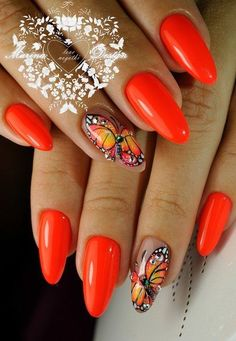 Nail art Christmas - the festive spirit on the nails. Over 70 creative ideas and tutorials - My Nails Butterfly Nail Designs, Butterfly Nail Art, Nail Art Designs, Orange Nails, Red Nails, Cute Nails, Pretty Nails, Nagel Gel, Beautiful Nail Designs