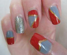Geometric nail art. Tutorial at http://caznpolish.blogspot.co.uk/2012/09/polish-days-geometry.html