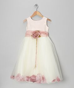 Look at this White & Rose Petal Silk Dress - Infant, Toddler & Girls on #zulily today!