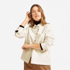 Women's Corduroy Chore Jacket by Everlane in Bone Straight Trousers, Boiler Suit, Professional Attire, Simple Outfits, Capsule Wardrobe, Corduroy, Going Out, Coat, How To Wear