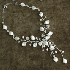 White Swarovski Pearl Y Shape Vine Bridal Set  by eminjewelry, $93.00