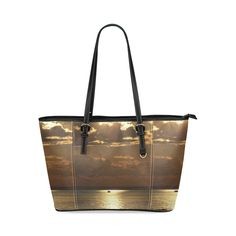 Awesome Sea Scene Leather Tote Bag/Small (Model 1640)