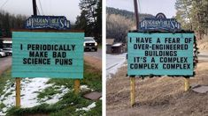 Puns and dad jokes may make some people shrug and roll their eyes, but sometimes they do just the trick. Someone in Colorado has been placing hilarious puns on a signboard. Funny Puns, Hilarious, Science Puns, State Of Colorado, Number Games, Belly Laughs, Dad Jokes, Street Artists, Getting Old