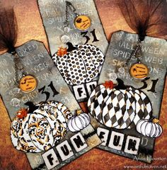 The Artful Maven: Tim Holtz 12 Tags of 2014 - October Altered Pumpkin Halloween Tags. Halloween Paper Crafts, Halloween Tags, Holidays Halloween, Halloween Decorations, Halloween Scrapbook, Card Tags, Gift Tags, Timmy Time, Handmade Tags