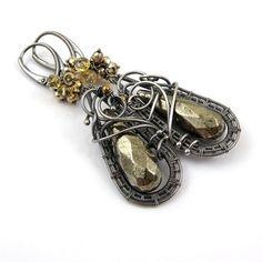 Wire wrapped earring , gemstone jewelry , sterling silver earring , long dangle earring, fine jewelry