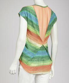 Look what I found on #zulily! Peach & Turquoise Stripe Hi-Low Top - Women by Illa Illa #zulilyfinds