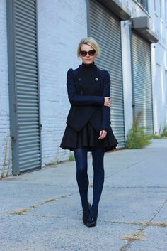 black and navy outfit