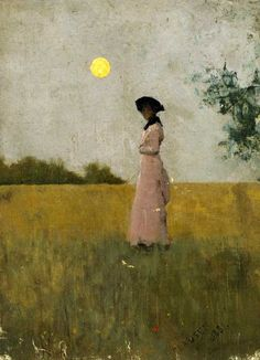 birdsong217:  George Clausen (1852-1944) View of a lady in Pink standing in a cornfield, 1881. Oil on canvas.