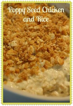 This easy Poppy Seed Chicken and Rice casserole is sure to please. The creamines… This easy Poppy Seed Chicken and Rice casserole is sure to please. The creaminess of the casserole along with the Ritz topping make this a crowd favorite! Poppy Seed Chicken Casserole, Ritz Cracker Chicken Casserole, Cream Of Chicken Soup, Food Dishes, Main Dishes, Side Dishes, Casserole Recipes, Casserole Ideas, Tips