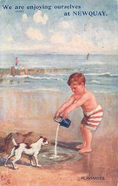 PLAYMATES, vintage postcard 1910.