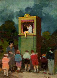"""Renato Natali (Livorno 1883 - 1979), """"Teatrino di marionette"""", Anni '40-'50. oil table 30 x 40 cm. Firenze Gallery."""