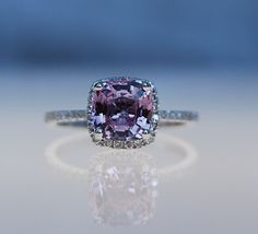 2ct square Cushion peach lavender champagne color change sapphire 14k white gold diamond ring...something different, I like unique.