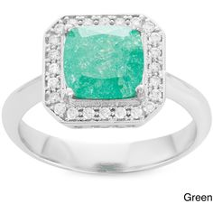 La Preciosa Sterling Silver Ice Cubic Zirconia Square Ring ($34) ❤ liked on Polyvore featuring jewelry, rings, white, band rings, cz cocktail rings, cocktail ring, sterling silver band rings and wide sterling silver rings