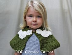 Crochet Pattern: The Nataleigh Capelet -Toddler, Child, & Adult Sizes- Two Turtle Doves by NaturallyNoraCrochet on Etsy https://www.etsy.com/listing/112680242/crochet-pattern-the-nataleigh-capelet