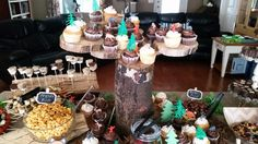 Cupcake tree and other food ideas we created for my daughters baby shower.