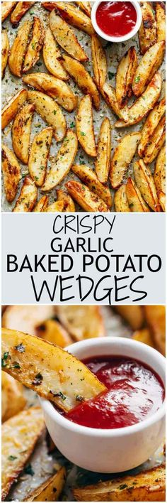 Crispy Garlic Baked Potato Wedges are soft pillows on the inside, and crunchy on the outside with a good kick of garlic and parmesan cheese!   https://cafedelites.com