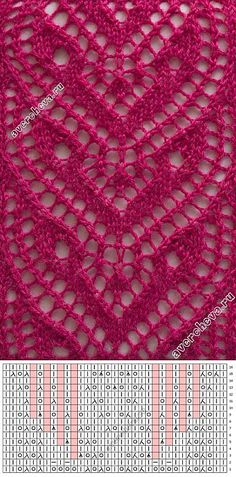 Discover thousands of images about Lace knitting Lace Knitting Stitches, Crochet Stitches Patterns, Knitting Charts, Lace Patterns, Sweater Knitting Patterns, Knitting Designs, Hand Knitting, Stitch Patterns, Knitting Tutorials