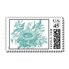 Gorgeous Vintage Brids and Florals Print Postage Stamp by notepourri