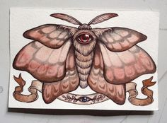 """A new moth piece I created while on my trip to Victoria BC, drawn in graphite, ballpoint pen and watercolor, """"Without Sleep"""". This winged piece is in my shop today at www.caitlinhackett.storenvy.com"""