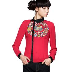 #Swanmarks Liebo New Autumn Cotton Yarn Printing Long Sleeved Blouse