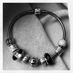 Pandora Bracelet With Edgy Black N Silver Theme Charms Beads