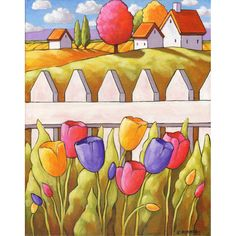 PAINTING ORIGINAL by Artist Cathy Horvath Buchanan, Folk Art Spring Tulips Cottage Garden Landscape ,Acrylic on Canvas Wall Decor Artwork 11x14 at www.SoloWorkStudio.com and on Etsy
