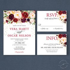 Fall Floral Wedding Invitation Suite, Autumn Winter Wedding Invite Set, Marsala Mulberry Blush Gold, Rustic Boho Chic Bohemian Style - Vera by InkAndVeil on Etsy https://www.etsy.com/listing/475321647/fall-floral-wedding-invitation-suite