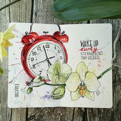 """""""Wake up early"""" / motivational art journal page that can change the way things gonna work for me today. Copic Marker Art, Copic Art, Sketch Markers, Illustration Blume, Watercolor Illustration, Watercolor Art, Realistic Drawings, Cute Drawings, Scrapbook Letters"""