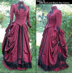 Best Bustle Contest, 2009, entry-  1880 red and black day gown