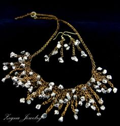 SALE Pyrite necklace and earrings jewelry set. by ZegnaJewelry, $80.00