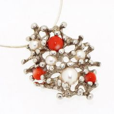 Reef Coral Pearls Sterling Silver Pendant