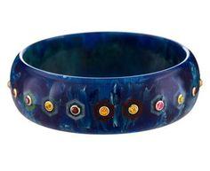 Mark Davis - Cassandra Bangle Bracelet with Vintage Bakelite and Mixed Stones in One-of-a-Kind Bracelets at TWISTonline
