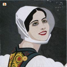 Sardegna DigitalLibrary - Immagini - Mattonella decorativa: Sorriso di Sardegna,  Melkiorre Melis 1927