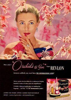Revlon 'Orchids to You' Lipstick & Nail Polish Ad, 1948